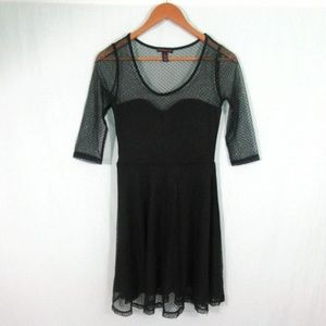 Material Girl Black Baby Doll Lace Dress lined M